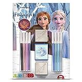 Multiprint Blister 2 Sellos para Niños Disney Frozen 2, 100% Made in Italy, Sellos Personalizados para Niños, en Madera y Caucho Natural, Tinta Lavable no Tóxica, Idea de Regalo, Art.26981