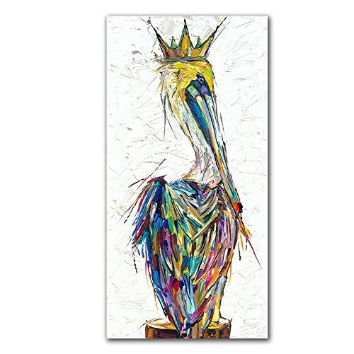 yiyiyaya Zeitgenössische abstrakte Ölgemälde auf Leinwand Wandkunst Tiere Pelikane Malen für -30X60CM Kunst - Elegante Blumen Moderne gestreckte und gerahmte Kunstwerke