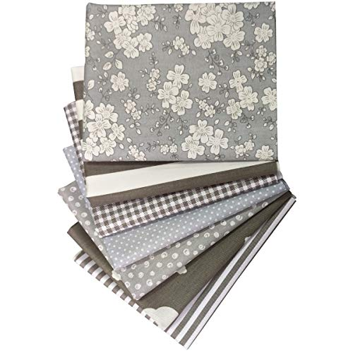 Misscrafts 7pcs Quilting Fabric 100% Cotton Craft Fabric Bundle Squares Grey Fat...
