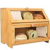 Panera grande de bambú para cocina, pan de doble capa de almacenamiento con ventana transparente y estante ajustable, estilo...
