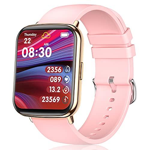 """TagoBee Smartwatch Mujer,IP68 Impermeable con 1.69"""" Táctil Completa Reloj Inteligente Mujer Monitor de Sueño Pulsómetro,Oxígeno de Sangre,GPS Podómetro 24 Modos Deporte Compatible con iOS y Android"""