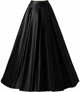Diydress Women's Long Fashion High Waist A-Line Satin Skirts with Pockets