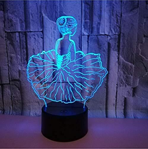 3D Illusion 7 Color Touch Ballet Girl Room 7 colores Sensor Room Decoration Luces del dormitorio Led Night Lights para niños Niños Baby