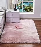 HARESLE - Tappeto quadrato in finta pelliccia, per camera da letto, lavabile, per soggiorno, colore: rosa/0,6 x 1,2 m