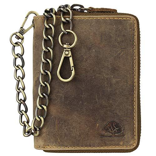 Greenburry Vintage RFID Leder Reißverschluss Geldbörse Portemonnaie Bikerbörse mit Kette BV-821A-25