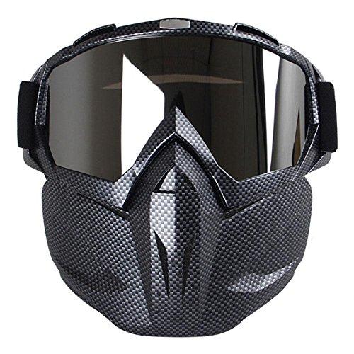 Máscara con gafas resistente al viento multifunción Aolvo para motocicleta/airsoft/CS/paintball/esquí/moto de nieve/equitación/bicicleta para niños y adultos, Carbon Fiber