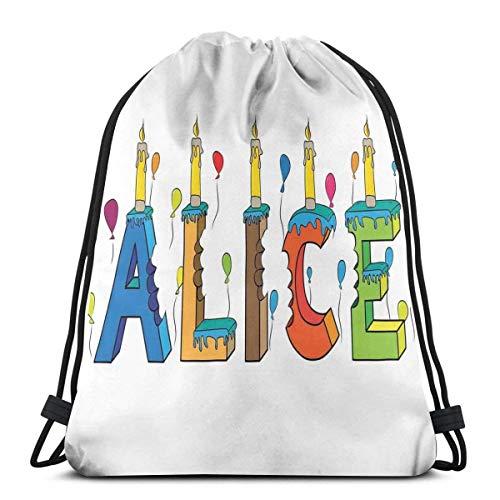 Hangdachang Bunte Mädchen-Namen mit Luftballons, gebissene Buchstaben, Kerzen, Cartoon-Stil, Illustration, verstellbarer Kordelzug, bedruckter Rucksack