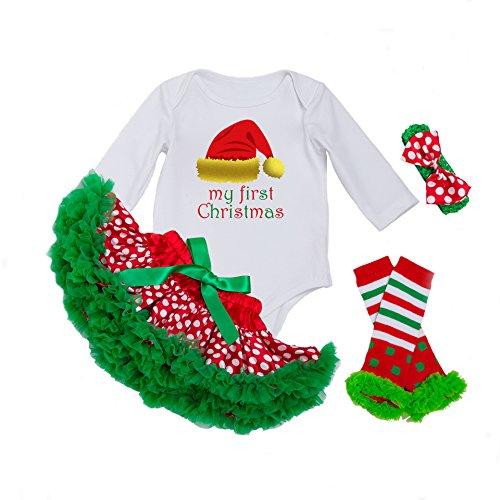 Decstore Bébés Filles Mon 1er Noël Costume Robe de fête Tutu Outfit ensemble 4PCS(Christmas Hat M)