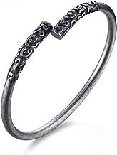 VNOX Men's Stainless Steel Ancient Buddhist Black Plated Narrow Open Cuff Bangle Bracelet