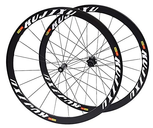 RUJIXU Juego Ruedas Bicicleta 700C Freno Disco QR 40mm Sellado para Velocidad Cojinete 8/9/10/11 Rueda Libre Casete Llanta Bicicleta Rueda Trasera Delantera 1850g