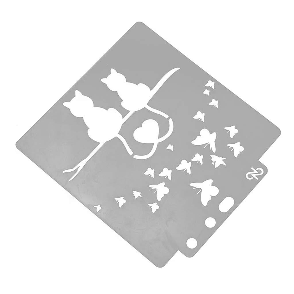 VIccoo Painting Stencil, Plantilla de Plantillas de Gato de Amor Pintura Scrapbooking Gofrado Estampado Manualidades de álbum -: Amazon.es: Hogar