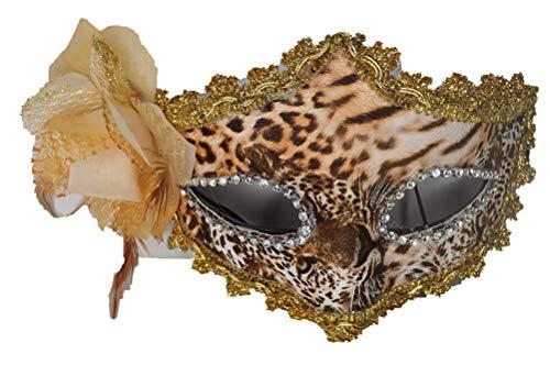 Frames semimáscara, acabado de leopardo, ribetes dorados y brillantes plata con gran flor tejidos, ref: 815.30