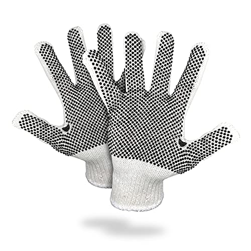 12 Pack One Side Dots Gloves 9.5 Size PVC String Knit Gloves with Black Dots Knitted Cotton Gloves Commercial Medium Weight Gloves for General Purposes Multi-Dot Design for Industrial Cooking Grilling Home Tools