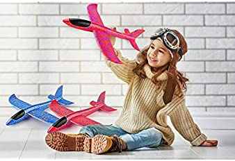"""2 Pack Airplane Toys, 17.5"""" Large Throwing Foam Plane, 2 Flight Mode Glider Plane, Flying Toy for Kids, Gifts for 3 4..."""