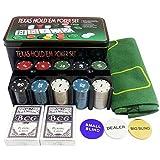 ATNR Juego de 200 fichas de póquer de 21 puntos con caja de hierro y código de mantel de ajedrez de póquer y entretenimiento casual juego de casino esencial