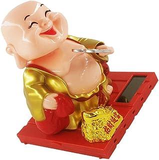 TOYANDONA Solar Powered Maitreya Buddha Figurine Solar Power Nodding Head Dancing Toy Bobblehead Doll Auto Dashboard Decor...