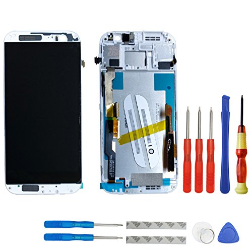 swark LCD Display für HTC One M8 831C Silber Touchscreen Bildschirm Digitizer Assembly Glas + Rahmen+Tools