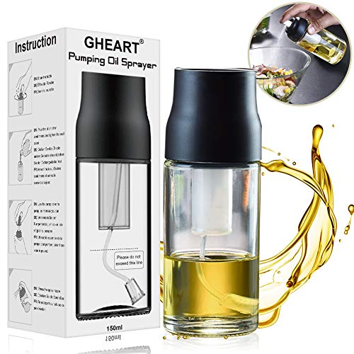 Olive Oil Sprayer Mister Oil Sprayer Bottle for Cooking, BBQ, Salad, Baking, Roasting, Grilling, Frying, BPA-Free, Glass, 150ml