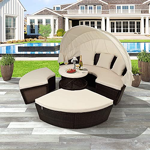 Dhehuas Muebles de patio al aire libre sofá cama con toldo retráctil muebles de mimbre asiento seccional con cojines lavables para patio, patio, porche, piscina, tumbona, asiento separado