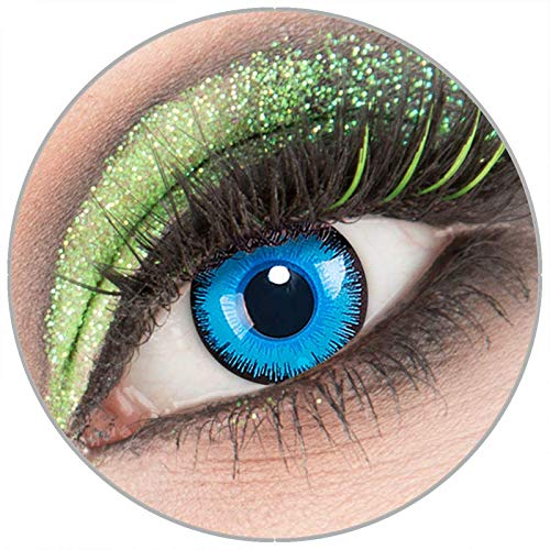 Farbige blaue 'Alper' Kontaktlinsen ohne Stärke 1 Paar Crazy Fun Kontaktlinsen mit Behälter zu Fasching Karneval Halloween - Topqualität von 'Giftauge'