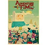 Mengyun Store Vintage Poster Cartoon Adventure Time Retro Posters Pegatinas De Pared Pintura Sin Marco Impresiones High Canvas Wall Art Mural Sz1174 (50X70Cm)