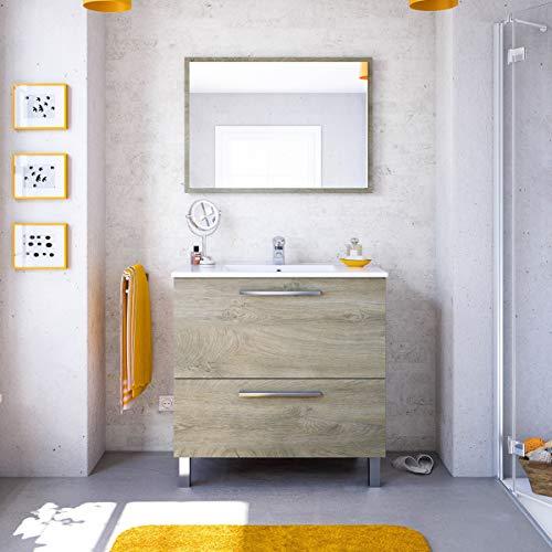 MarinelliGroup Mobile Bagno 80 cm con lavabo in Ceramica e Specchio con cassetti Rovere Chiaro Mora - 305412C