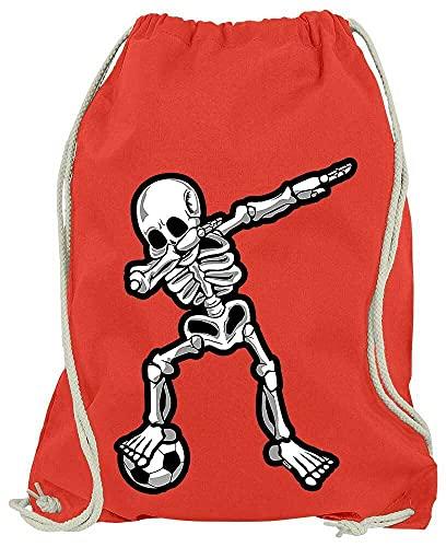 HARIZ - Dabbing - Dab Skelett Fussball - Turnbeutel Jungen Sportbeutel Junge - Junge 10 Jahre Geschenkideen - Rot One Size