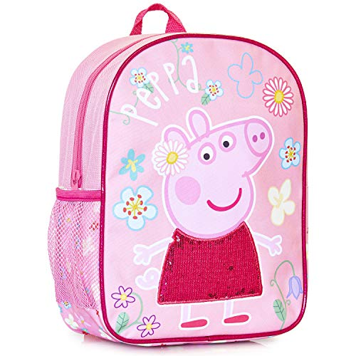 Peppa Pig Sequin Kids Backpack | Girls Pink Canvas Rucksack with Pink Sequin Detail On The Dress, Perfect Children School Bag, Nursery Or Preschool Bag, Kids Toddlers Holiday Travel Bag