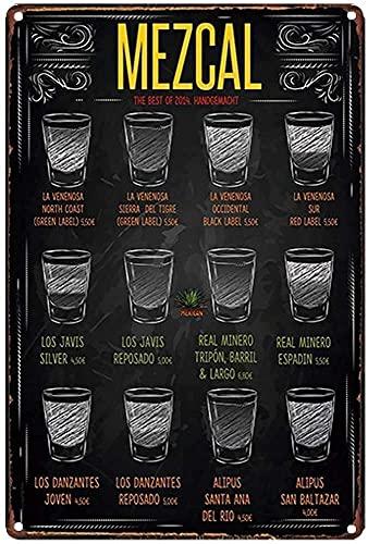 Oddss Retro Funny Mezcal Cartel de chapa de metal,Suitable for Home Bar Hotel Office Cafe Wall Decor Poster Gifts for Women Men Friends 8x12 Inch