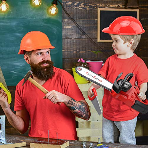 STEAM Life Kids Tool Set Electric Toy Chainsaw Costume - Kids Construction Toys Tools Costume Includes Kid's Hard Hat, Goggles, Battery Powered Chain Saw - Pretend Play Toy Tools for Boys and Girls