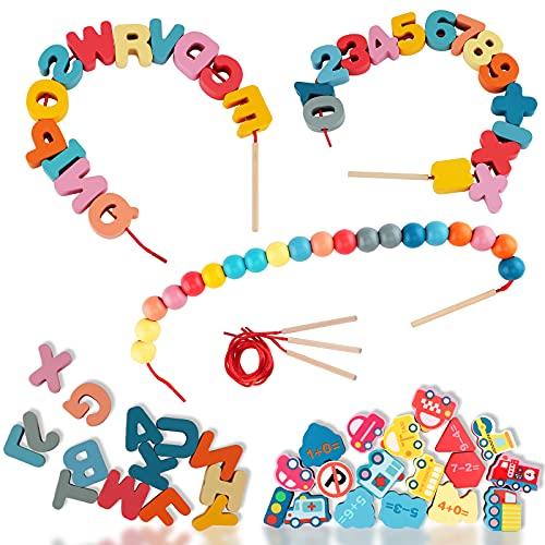 Sirecal Cuentas Madera Juguete de Enhebrar 86 Piezas Ensartables Infantiles Bloque de Madera Montessori Educational Toys para Niños Pequeños y Bebés