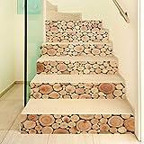 Folewr-8 - Juego de 6 pegatinas 3D de madera para escaleras, autoadhesivas, para decoración del hogar