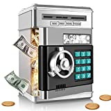 SHOMOTE Kids Stuff Piggy Bank, Auto Scroll Paper Money ATM, Electronic Real Coin Bank with Safe Password Lock, Plastic Large Saving Box, Gifts Toys for 3 4 5 6 7 8 9 10 Years Old Boys Girls (Silver)