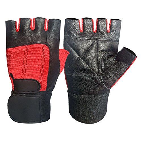 Prime Haltérophilie Gants Cuir Long Bandeaux Haltérophilie gants rembourré Paume Exercice Fitness Gants Force gants Maison Gym Noir rouge 202 - Noir/Rouge, Medium