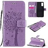 MOYOFEE JYMD AYDD para Sony Xperia L4 Árbol y Gato Patrón en Relieve Caja de Cuero de Chancletas horizontales con Soporte y Ranuras para Tarjetas y Billetera y cordón (Color : Light Purple)