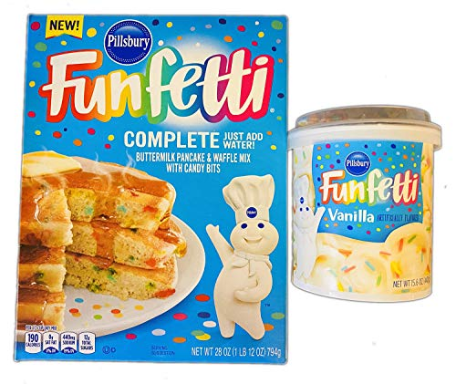 Pillsbury Funfetti Buttermilk Pancake And Waffle Mix Kit Buttermilk Pancake amp Waffle Mix With Candy Bits and Vanilla Frosting Delicious Homemade Pancake and Waffles With Vanilla Toppings