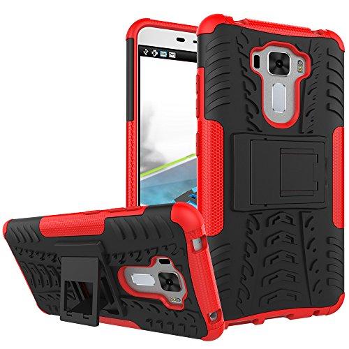 TiHen Handyhülle für Asus Zenfone 3 Laser ZC551KL Hülle, 360 Grad Ganzkörper Schutzhülle + Panzerglas Schutzfolie 2 Stück Stoßfest zhülle Handys Tasche Bumper Hülle Cover Skin mit Ständer -rot