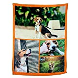Personalized Throw Blanket. Custom Blanket with 1-9 Photo Collages. Customized Blankets for Family, Friends, Dogs or Pets, Used as Souvenirs and Gifts (4 Photos Collage, 32X48in(80x120cm))