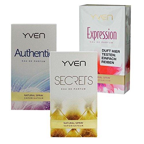 Yven Woman secrets + authentic + expression Eau de Parfum je 50ml Spray EdP Vaporisator