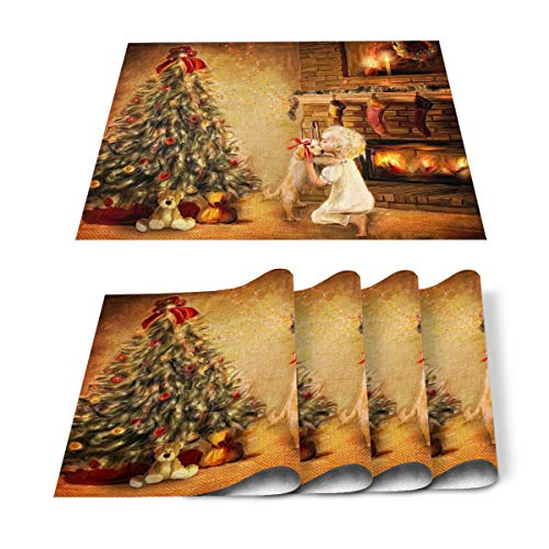 COLORSUM Rectangular Placemats Set of 6 for Dining Table Happy New Year Christmas Tree with Cartoon Bears Candles Girls Kiss Dog Heat Resistant Table Mats Set Dinner Kitchen Placemat