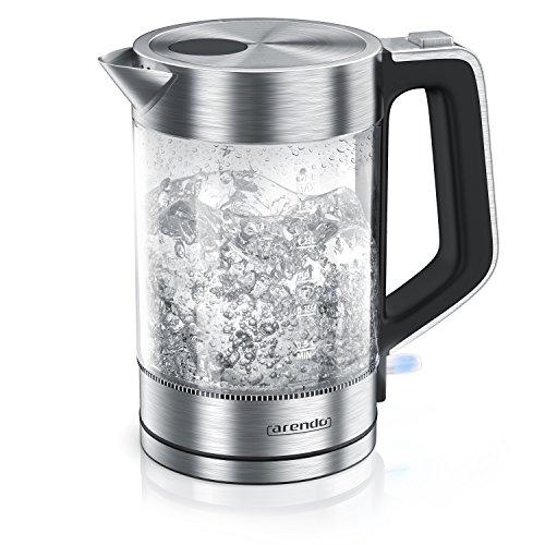 Arendo - Glas Wasserkocher Edelstahl - 1,7 Liter - 2200W - Cool-Touch-Griff - One Touch-Verschluss - Automatische Abschaltung - Integrierte Kabelführung - Überhitzungsschutz