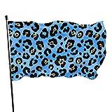 Hanging Flag Dekor,Garten Banner,Fahne,Flagge,Sexy Dunkelblaue Leopardenmuster-Polyester-Flagge - Lebendige Farbe Und Uv-Beständigkeit Für Den Außen-/Innenbereich 150X90 cm