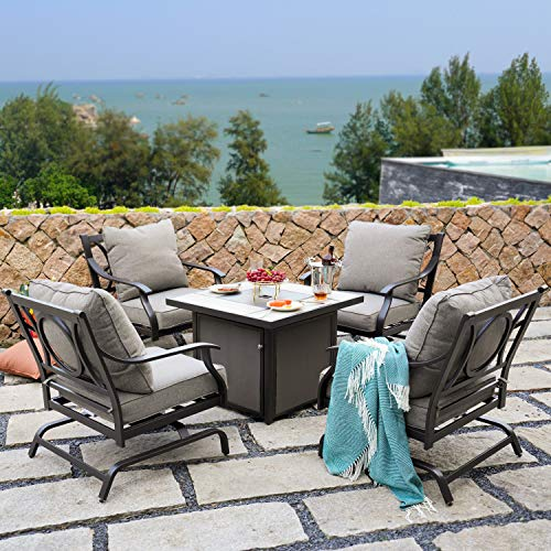 Grand patio 5 PCS Outdoor Furniture Conversation Fire Table Set, Cushion Rocking Chairs with 32 Inch Propane Gas Fire Pit Table