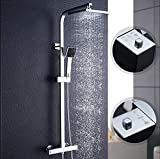 ZIK Columna de ducha con mezclador termostático multifunción, regulable en acero inoxidable – cromado