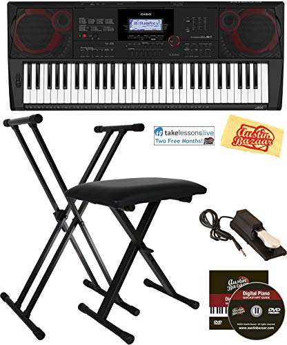 Why Should You Buy Casio CT-X3000 Keyboard Bundle with Adjustable Stand, Bench, Sustain Pedal, Online Lessons, Austin Bazaar Instructional DVD, and Polishing Cloth