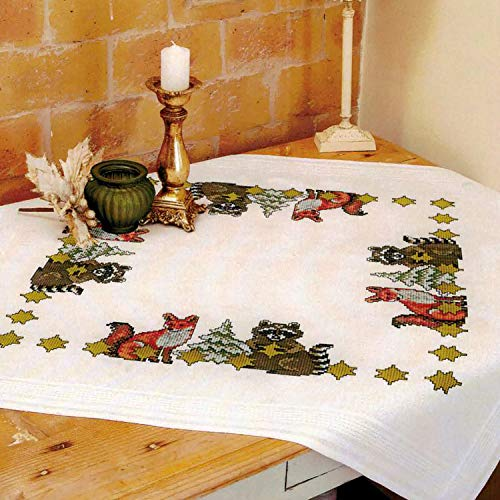 Kamaca Stickpackung Tischdecke Freunde im Wald Kreuzstich vorgezeichnet aus Baumwolle Stickset mit Stickvorlage (Mitteldecke 80x80 cm)