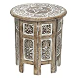 SAVON Small Rustic Wood Table Round White Side end Carved Indian Coffee Accent