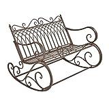 [en.casa] Banco Balancín para Jardín Greenough 85 x 113 x 95 cm para 2 Personas Vintage Asiento Mecedora Mueble Exterior Robusto de Metal Marrón