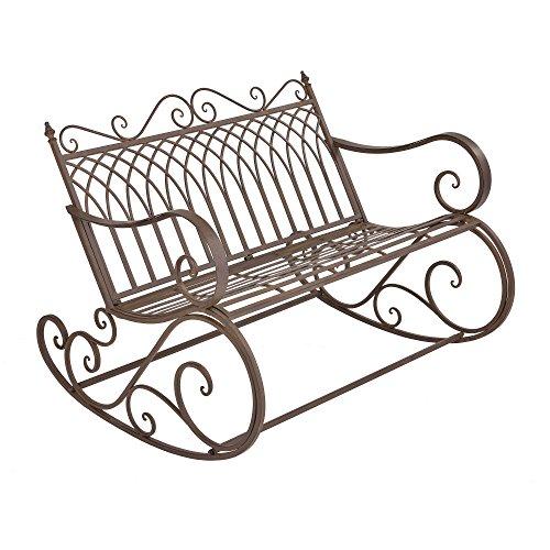 [en.casa] Panca a Dondolo da Giardino/Terrazza Panchina in Metallo per Uso Esterno in Stile Vintage Sedia a 2 Posti Oscillante - Marrone