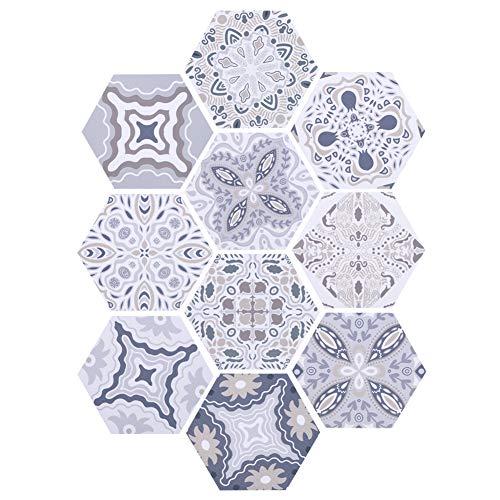 10 unids pegatina de azulejo hexagonal, pelada y palillo de pared autoadhesiva pegatinas de azulejos, impermeable hermoso patrón pegatinas de pared la decoración baño cocina bricolaje(4.5x7.9x9.1 en)